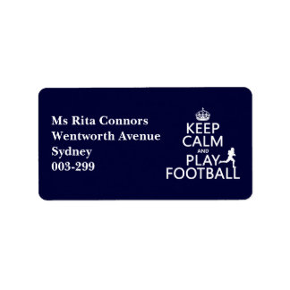 Keep Calm and Play Football (customizable color) Label