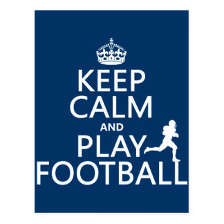 Keep Calm and Play Football (customizable color) Postcard