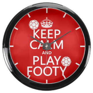Keep Calm and Play Footy (football) (any colour) Aquarium Clocks