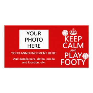 Keep Calm and Play Footy (football) (any colour) Card