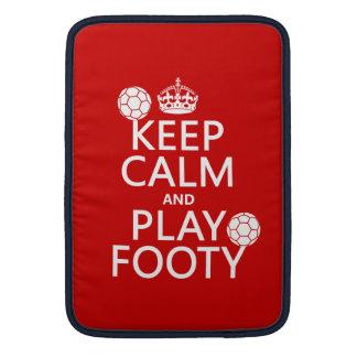 Keep Calm and Play Footy (football) (soccer) Sleeve For MacBook Air