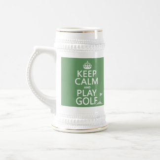 Keep Calm and Play Golf - all colors 18 Oz Beer Stein