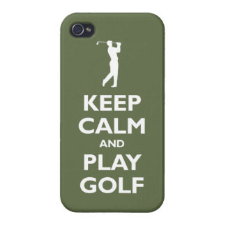 Keep Calm and Play Golf (olive) iPhone 4/4S Cover