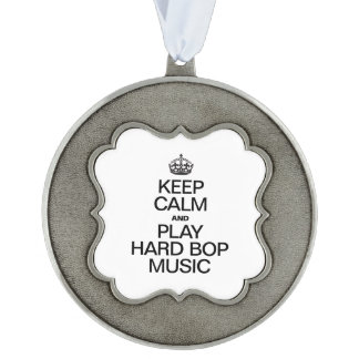 KEEP CALM AND PLAY HARD BOP MUSIC SCALLOPED ORNAMENT