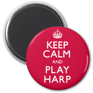Keep Calm and Play Harp (Carry On) 2 Inch Round Magnet