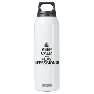 KEEP CALM AND PLAY IMPRESSIONIST 16 OZ INSULATED SIGG THERMOS WATER BOTTLE
