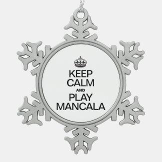 KEEP CALM AND PLAY MANCALA SNOWFLAKE PEWTER CHRISTMAS ORNAMENT