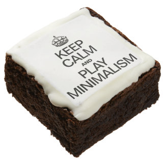 KEEP CALM AND PLAY MINIMALISM SQUARE BROWNIE