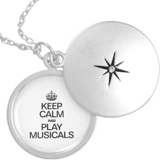 KEEP CALM AND PLAY MUSICALS ROUND LOCKET NECKLACE