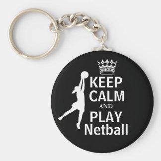 Keep Calm and Play Netball Design Keychain