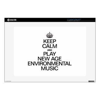 """KEEP CALM AND PLAY NEW AGE ENVIRONMENTAL MUSIC DECAL FOR 15"""" LAPTOP"""