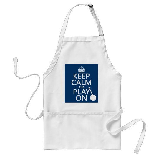 Keep Calm and Play On (Banjo)(any bckgrd color) Adult Apron