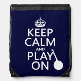 Keep Calm and Play On (Banjo)(any bckgrd color) Drawstring Bag