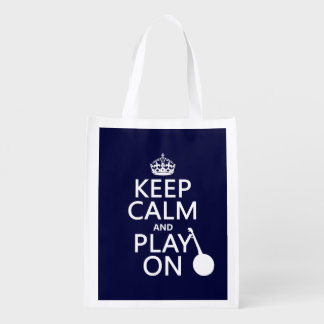 Keep Calm and Play On (Banjo)(any bckgrd color) Grocery Bag
