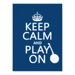 Keep Calm and Play On (Banjo)(any bckgrd color) 5.5x7.5 Paper Invitation Card