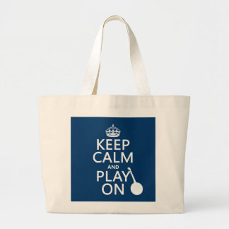 Keep Calm and Play On (Banjo)(any bckgrd color) Large Tote Bag
