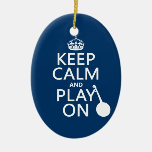 Keep Calm and Play On (Banjo)(any bckgrd color) Double-Sided Oval Ceramic Christmas Ornament