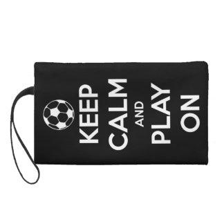 Keep Calm and Play On Black Wristlet Purses