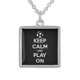 Keep Calm and Play On Black Square Pendant Necklace
