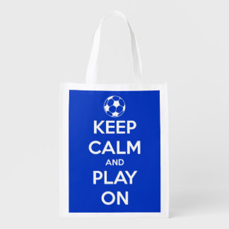 Keep Calm and Play On Blue and White Soccer Grocery Bag