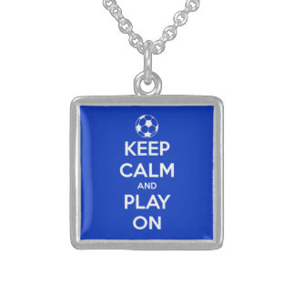 Keep Calm and Play On Blue Square Pendant Necklace