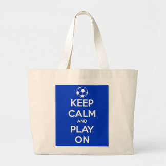 Keep Calm and Play On Blue Tote Bag