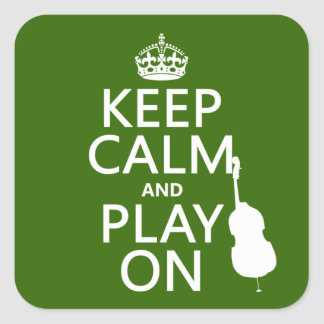 Keep Calm and Play On (cello) (any color) Square Sticker