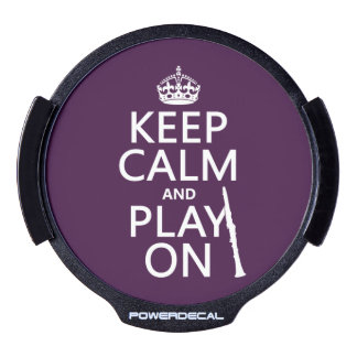 Keep Calm and Play On (clarinet) (any color) LED Car Window Decal