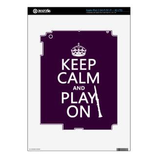 Keep Calm and Play On (clarinet) (any color) iPad 3 Skin