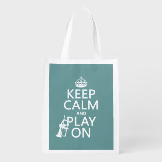 Keep Calm and Play On (cornet)(any color) Market Totes