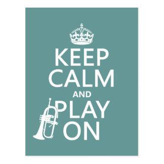 Keep Calm and Play On (cornet)(any color) Postcard