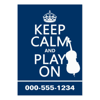 Keep Calm and Play On (double bass) Large Business Cards (Pack Of 100)