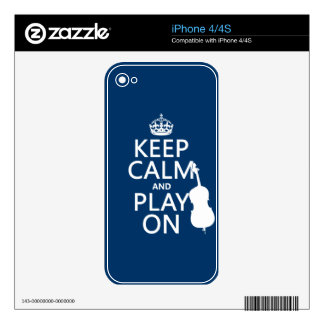 Keep Calm and Play On (double bass) iPhone 4 Skins