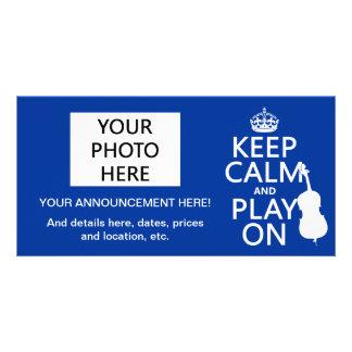 Keep Calm and Play On (double bass) Customized Photo Card