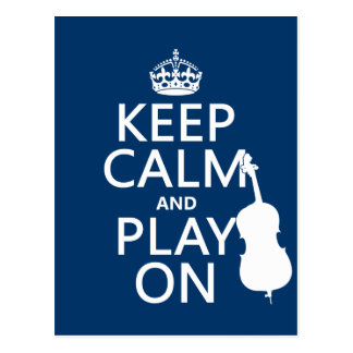 Keep Calm and Play On (double bass) Postcard
