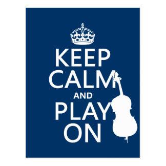 Keep Calm and Play On (double bass) Postcard