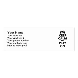 Keep calm and play on Double-Sided mini business cards (Pack of 20)