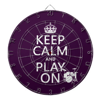 Keep Calm and Play On (drums)(any color) Dartboard