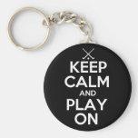 Keep Calm and Play On - Field Hockey Basic Round Button Keychain