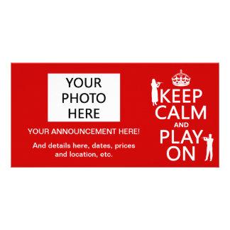 Keep Calm and Play On (flute)(any backgroundcolor) Custom Photo Card