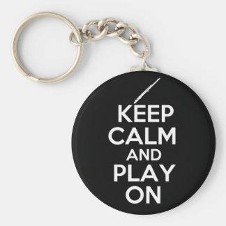 Keep Calm and Play On! (Flute) Keychain