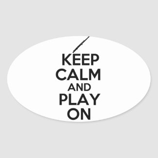 Keep Calm and Play On Flute Oval Stickers