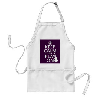 Keep Calm and Play On (guitar)(all colors) Adult Apron