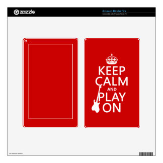 Keep Calm and Play On (guitar)(any color) Kindle Fire Decals