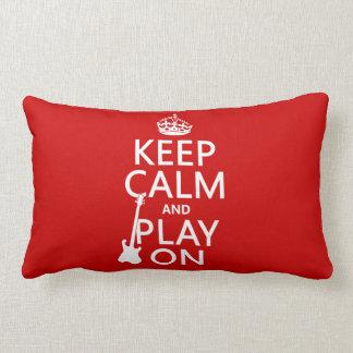 Keep Calm and Play On (guitar)(any color) Lumbar Pillow