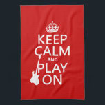 "Keep Calm and Play On (guitar)(any color) Towel<br><div class=""desc"">This reads Keep Calm and Play On, in the style of the classic keep calm poster. The silhouette of an electric guitar rests against the words. It&#39;s a beautiful simple design great for any guitarist who loves to rock. You can change the background colour really easily, just press customize. If...</div>"