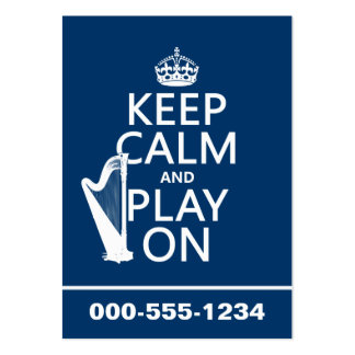 Keep Calm and Play On (harp)(any color) Business Card Template