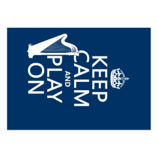 Keep Calm and Play On (harp)(any color) Business Card Templates