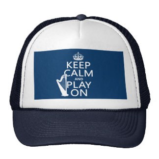 Keep Calm and Play On (harp)(any color) Mesh Hat
