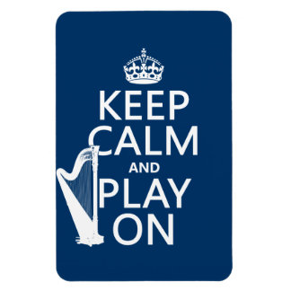 Keep Calm and Play On (harp)(any color) Rectangular Photo Magnet
